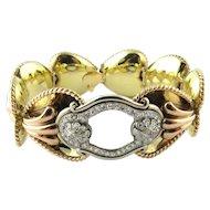 Antique 14 Karat Yellow Gold and Diamond Bracelet