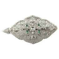Vintage 14 Karat White Gold Diamond and Emerald Pendant/Brooch