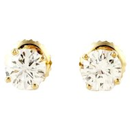 Vintage 14K Yellow Gold Round Brilliant Diamond Stud Earrings .78ct