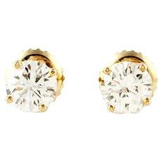 Vintage 14K Yellow Gold Round Brilliant Diamond Stud Earrings .78ct