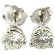 Vintage 14K White Gold Round Brilliant Diamond Stud Earrings .75 ct