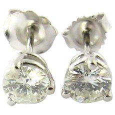 Vintage 14K White Gold Round Brilliant Diamond Stud Earrings .75 ct