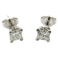 Vintage 14K White Gold Princess Cut Diamond Stud Earrings .80 ct