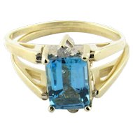 Vintage 14K Yellow Gold Diamond and Blue Topaz Flip Ring, Size 6