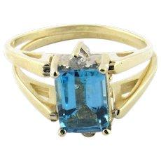 Vintage 14K Yellow Gold Diamond and Blue Topaz Flip Ring, Size 6