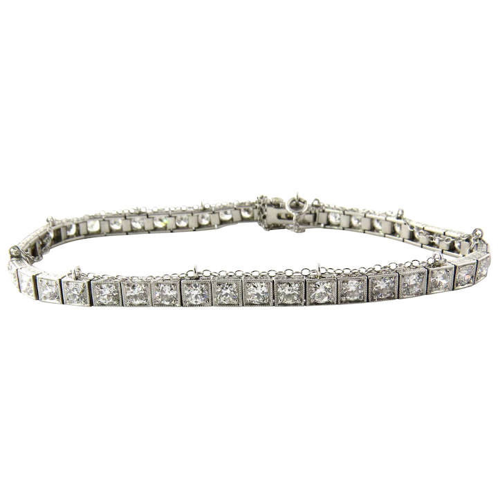 c20520388d5 Antique Platinum Diamond Tennis Bracelet 4.4 cts Safety Chain   Gold ...