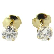 Vintage 14K Yellow Gold .95ct Diamond Stud Earrings