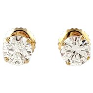 Vintage 14K Yellow Gold .90ct Diamond Stud Screwback Earrings