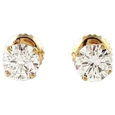 Vintage 14K Yellow Gold .90ct Diamond Stud Screwback Earrings