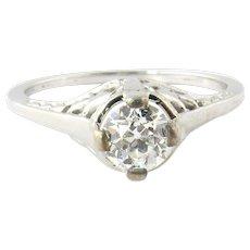 Vintage 14 Karat White Gold Diamond Ring Size 6