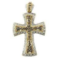 Vintage 14K White & Yellow Gold Diamond Cross Pendant