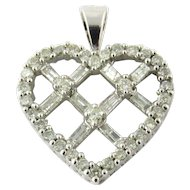 Vintage 14K White Gold Diamond Criss Cross Heart Pendant