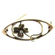 Vintage 14K Yellow Gold Seed Pearl Brooch