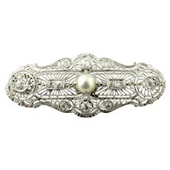 Antique 14K White Gold Diamond and Pearl Filagree Pendant Brooch