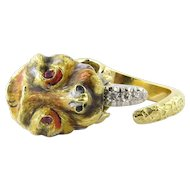 Vintage 18K Yellow Gold Tiger Ring Diamond Tongue Ruby Eyes Size 5.75