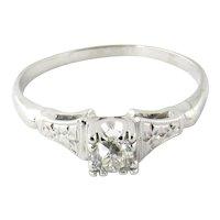 Vintage 18K White Gold European Cut Diamond Engagement Ring