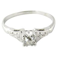 Vintage 18K White Gold European Cut Diamond Engagement Ring
