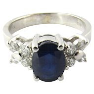 Vintage 14K White Gold Diamond and Sapphire Ring, Size 6