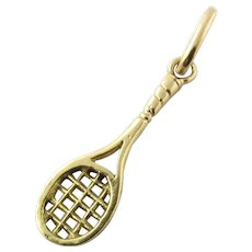 Vintage 14K Yellow Gold Tennis Racket Charm