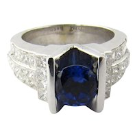 Vintage 14K White Gold Sapphire and Diamond Ring Size 7