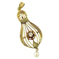 Vintage 14K Yellow Gold Diamond and Pearl Filagree Pendant