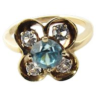 Vintage 14 Karat Yellow Gold Synthetic Stone Ring Size 6.5