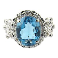 Vintage 14K White Gold Blue Topaz and Diamond Ring, Size 8