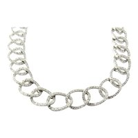 Vintage 18K White Gold and Diamond Oval Link Necklace 16""