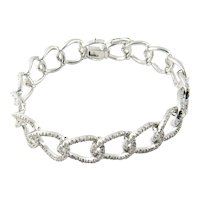 Vintage 18K White Gold Diamond Oval Link Bracelet 7""