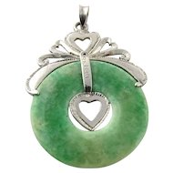 Vintage Platinum and Jade Heart Circular Pendant