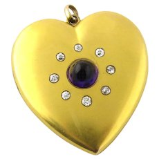 10K Yellow Gold Large Heart Locket with Amethyst and Old Miner Diamonds