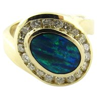 Vintage 14 Karat Yellow Gold Australian Opal and Diamond Ring Size 5.5