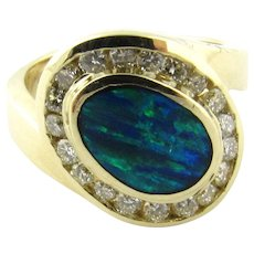 Vintage 14 Karat Yellow Gold Australian Opal and Diamond Ring Size 5.5