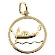 Vintage 18 Karat Yellow Gold Venice Gondola Pendant