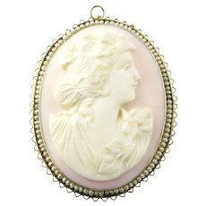 Vintage 14K Yellow Gold Rose Cameo Brooch Pendant