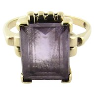 Vintage 14K Yellow Gold Amethyst Ring, Size 4