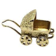 Vintage 14 Karat Yellow Gold Baby Carriage Charm