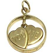 Vintage 14 Karat Yellow Gold Ring and Hearts Pendant