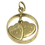 Vintage 14 Karat Yellow Gold Ring and Hearts Pendant