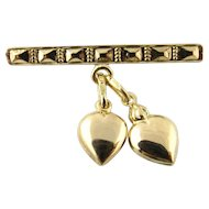 Vintage 14K Yellow Gold Bar Pin with Dangling Hearts
