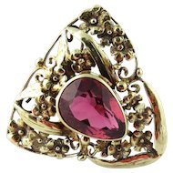 Vintage 14K Yellow Gold Rhodolite Floral Triangular Pin Brooch