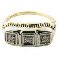 Vintage 14 Karat Yellow and White Gold Diamond Ring Size 6.5