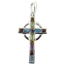 Vintage 14 Karat White Gold Gemstone Cross
