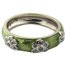 Vintage 18 Karat White Gold Enamel and Diamond Ring Size 7.25
