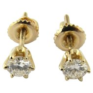 Vintage 14 Karat Yellow Gold Diamond Stud Earrings