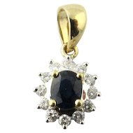 Vintage 14 Karat Yellow and White Gold Sapphire and Diamond Pendant