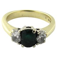 Vintage 14 Karat Yellow Gold Emerald and Diamond Ring Size 6