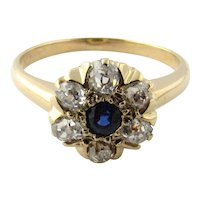 Vintage 14 Karat Yellow Gold Sapphire and Diamond Ring Size 8.5