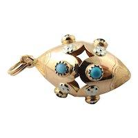 Vintage 18 Karat Yellow Gold and Gemstone Pendant