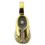 Vintage 18 Karat Yellow Gold and Diamond Baby Shoe Charm